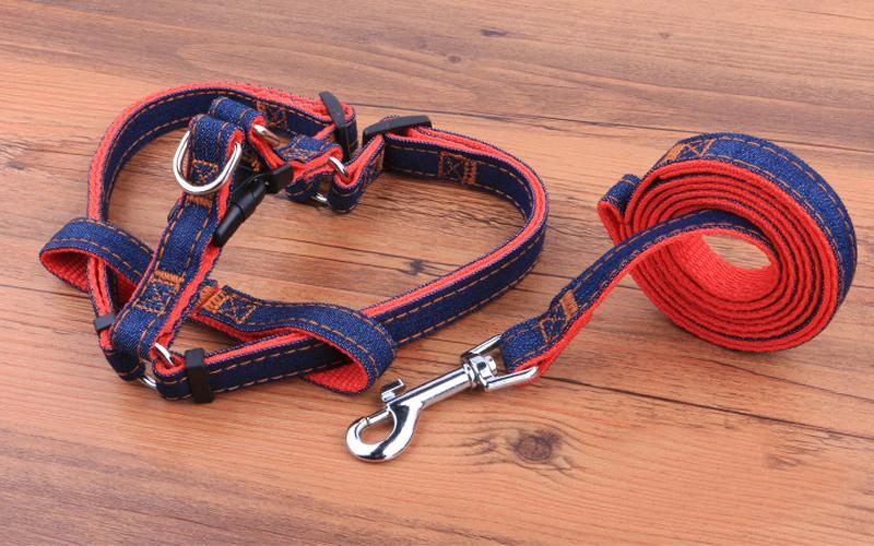 New arrival Fashion Cowboy harness vest nylon denim fabric dog leashes harnesses strong solid jean pet harness with 4 size