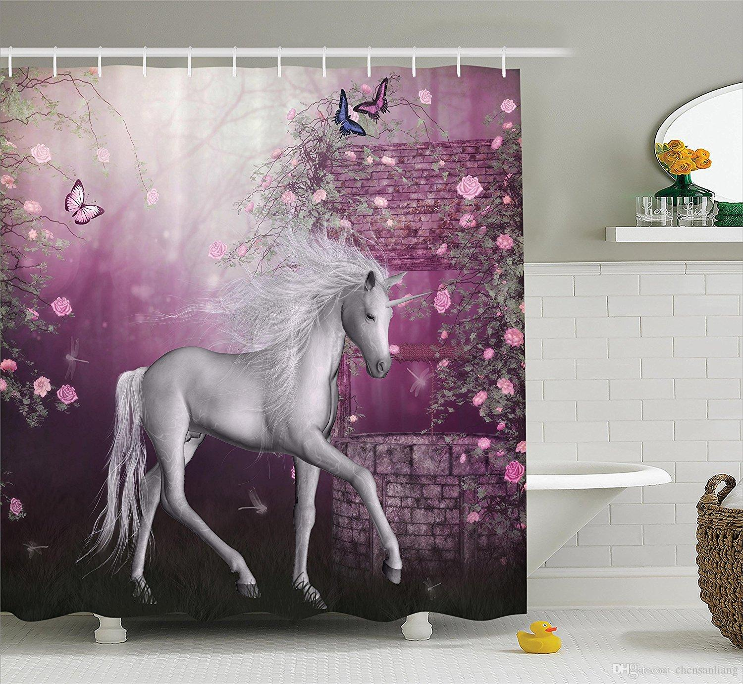 2018 Shower Curtain Unicorn In Rose Garden Butterflies Bathroom Polyester Curtains Waterproof Antibacterial With 12 Hooks Bath From