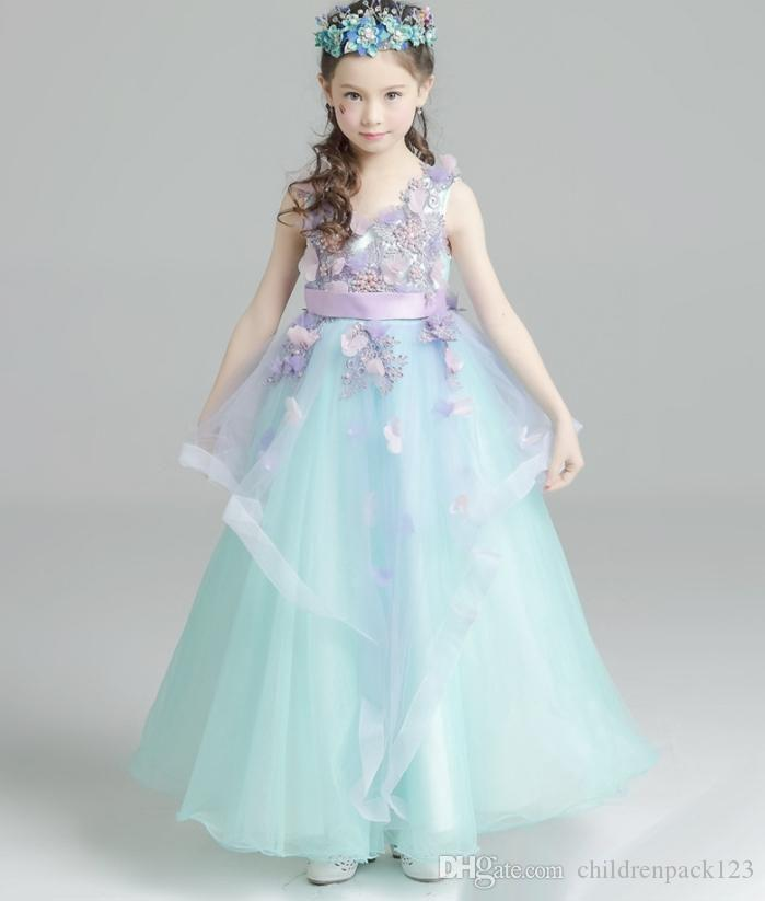 Best Flower Girls Dress Stereo Floral Tulle Princess Dresses Summer ...