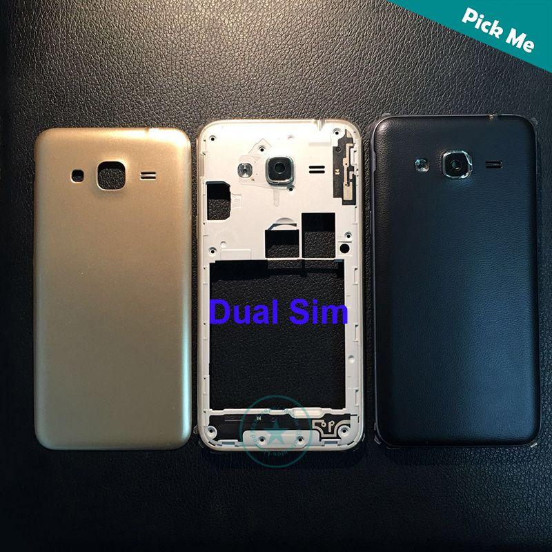 For Samsung Galaxy J3 2016 J320 J3109 Middle Frame Bezel Battery Cover Back  Housing Door Side Buttons Logo Black White Gold color