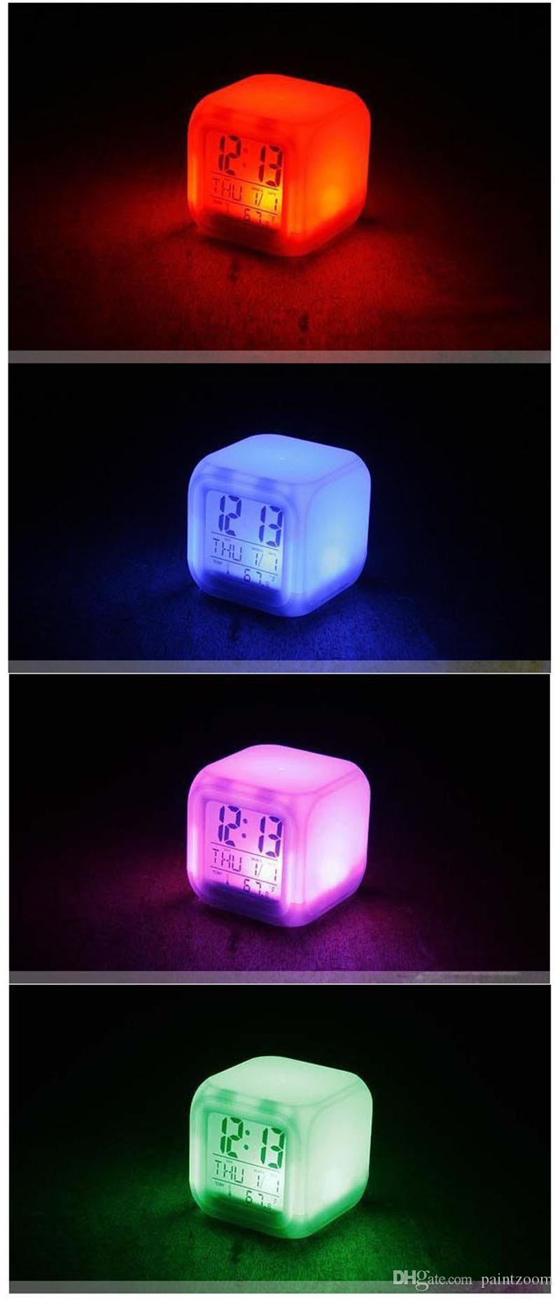 Atacado 100 pçs / lote Brilhante Mudança LED Relógio Termômetro Cubo Despertador Digital