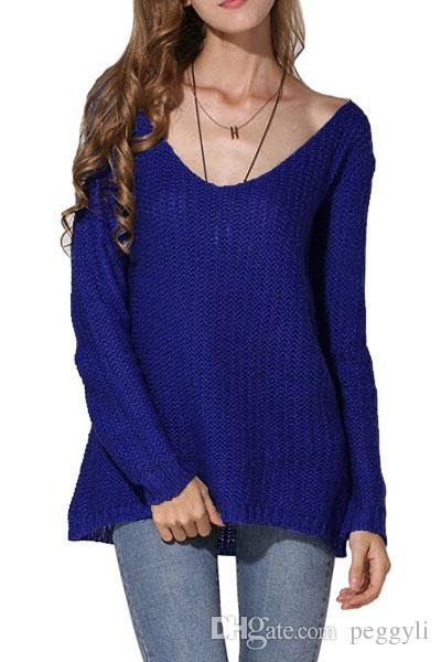 2018 2017 Winter Royal Blue Women Plus Size Pullovers Thin ...