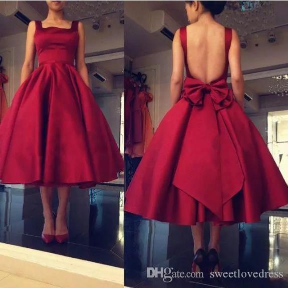 2018 fashion Dark Red Prom dresses With Spaghetti Sexy Backless Tea Length Back bow Draped Pageant Homecoming Dresses