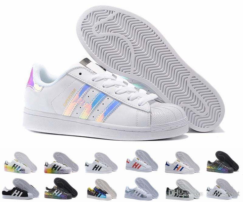 check out 2566b 4b801 Acquista Superstar Original White Hologram Iridescent Junior Oro Superstars  Sneakers Originals Super Star Donna Uomo Sport Scarpe Da Corsa 36 45 A   83.41 ...