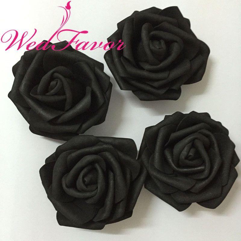 2019 7cm Black Artificial Eva Foam Rose Flower Heads For Party