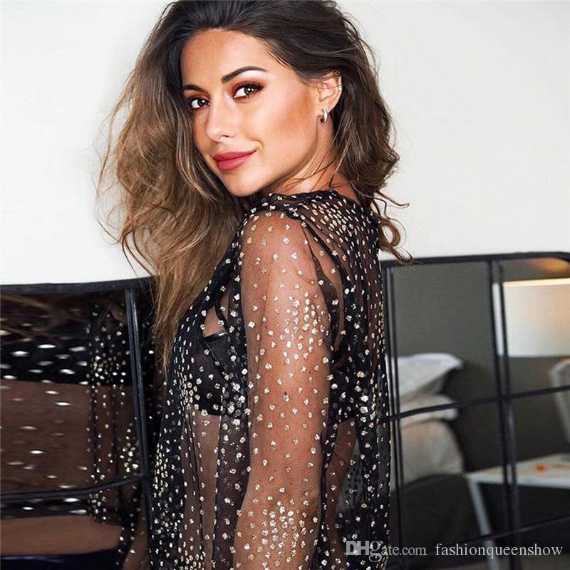 Sexy Women Perspective Net Yarn Blouse Fashion Streetwear Long Sleeve Shirts Shiny Dots Pattern Pullover Tops