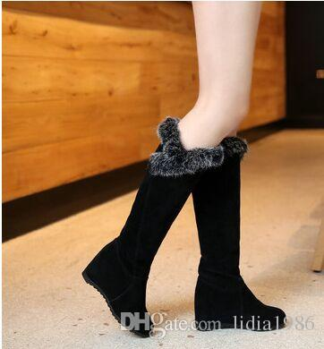 New Arrival Hot Sale Specials Super Fashion Influx Martin Roman Suede Winter Warm Rabbit Hair Cotton Noble Heels Knight Boots EU34-43