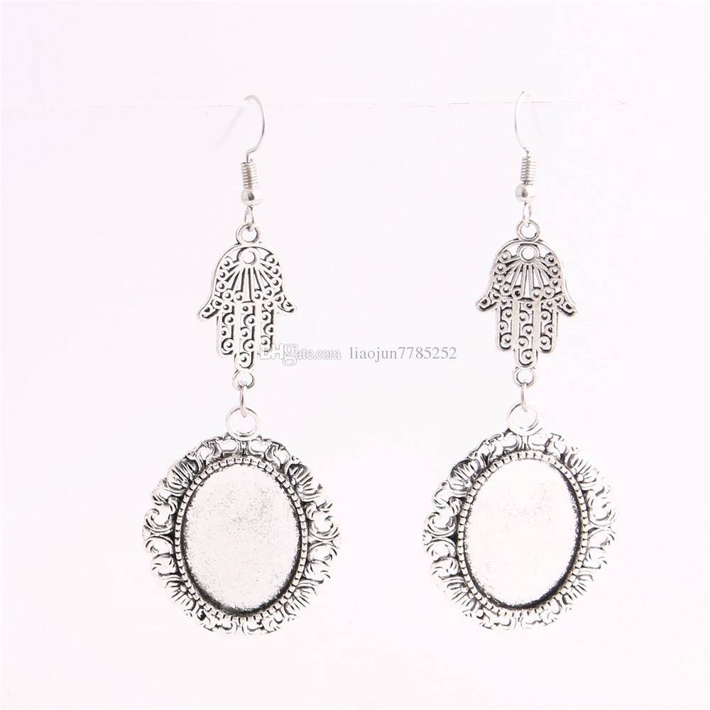 SWEET BELL Metal Alloy Zinc Hamsa Hand Charm Fit oval 18mm*25mm Cabochon Set Pendant Drop Earing Jewelry Making C0834