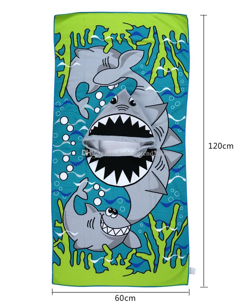 Children Baby Cartoon Hooded Bath Towel Microfiber Bathrobe Kids Bathing Wrap Toddler Infant Wearable Beach Towel