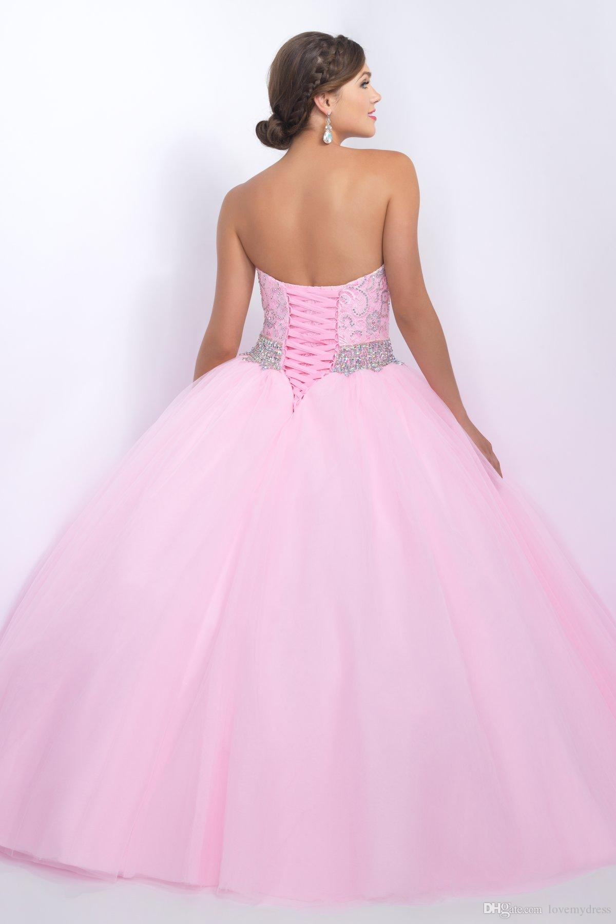 Elegant Quinceanera Dress Long Crystals Sparked Shiny Prom Dresses Pageant Gown Lace Beaded Collar Pink Gown Sweet 16 Girls Modest Country