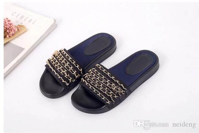89cd28aa2 Big Size 40 41 42 Genuine Leather Chain Slide Flat Sandals Luxury Women  Outdoor Beach Causal Rubber Sandals Fringe Sandals Silver Wedges From  Neideng