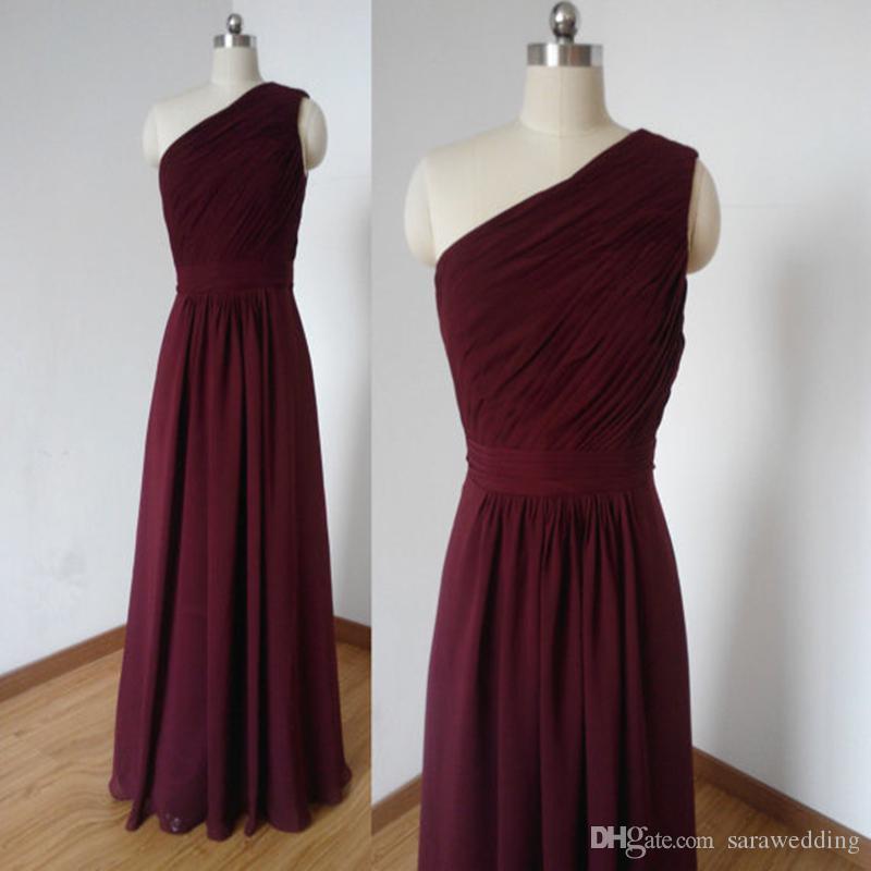 Burgundy One Shoulder Chiffon A Line Bridesmaid Dresses Long 2017 Elegant Robe  Demoiselle D Honneur Longue Lace Up Back Black Bridesmaids Dresses Blue ... 5d47f6956756