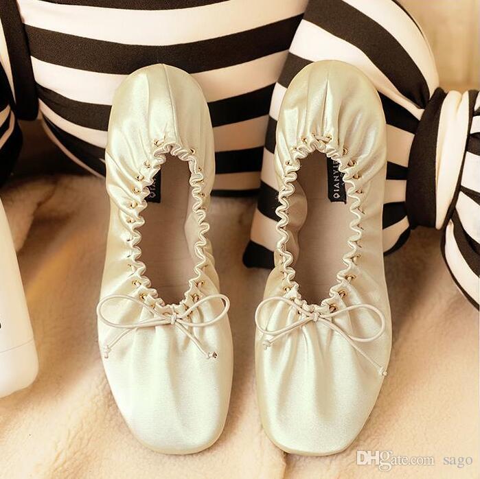 Bow Ballerina Flats Wedding Shoes Satin Silky Soft Comfortable ...