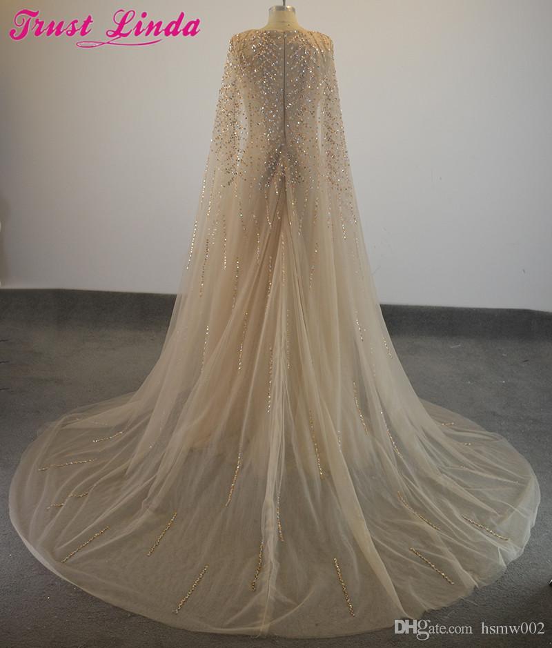 Noche elegante vestidos formales de tul Cabo Volantes real de fotos Ver vestidos del partido vestido de fiesta Traje de noche largo Sheer