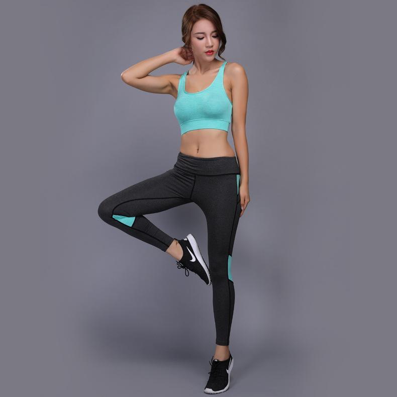 Мода йога комплект одежды бюстгальтер + йога брюки спортивный костюм открытый женщины бег фитнес обучение дышащий Quick Dry