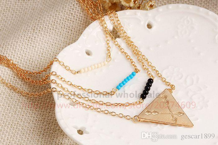 Hottest Bohemia Style Jewelry Christmas Gift 3 Layers Double Triangle Gold Alloy Necklace Sweater Chain for Woman