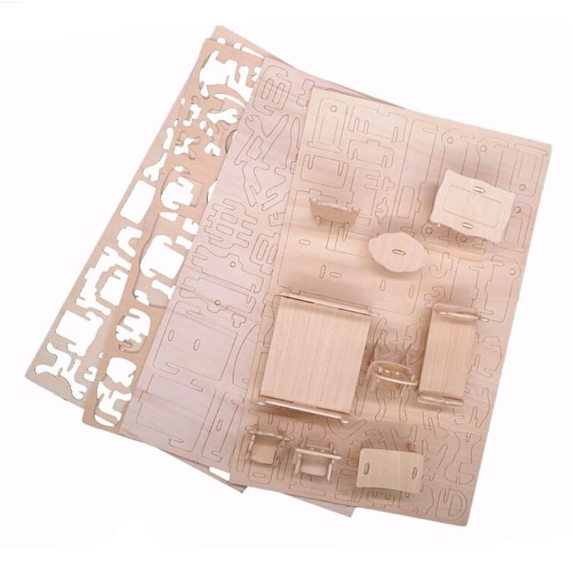 34 Pcs/Set Miniature 1:12 Dollhouse Furniture for Dolls,Mini 3D Wooden Puzzle DIY Building Model Toys for Children Gift