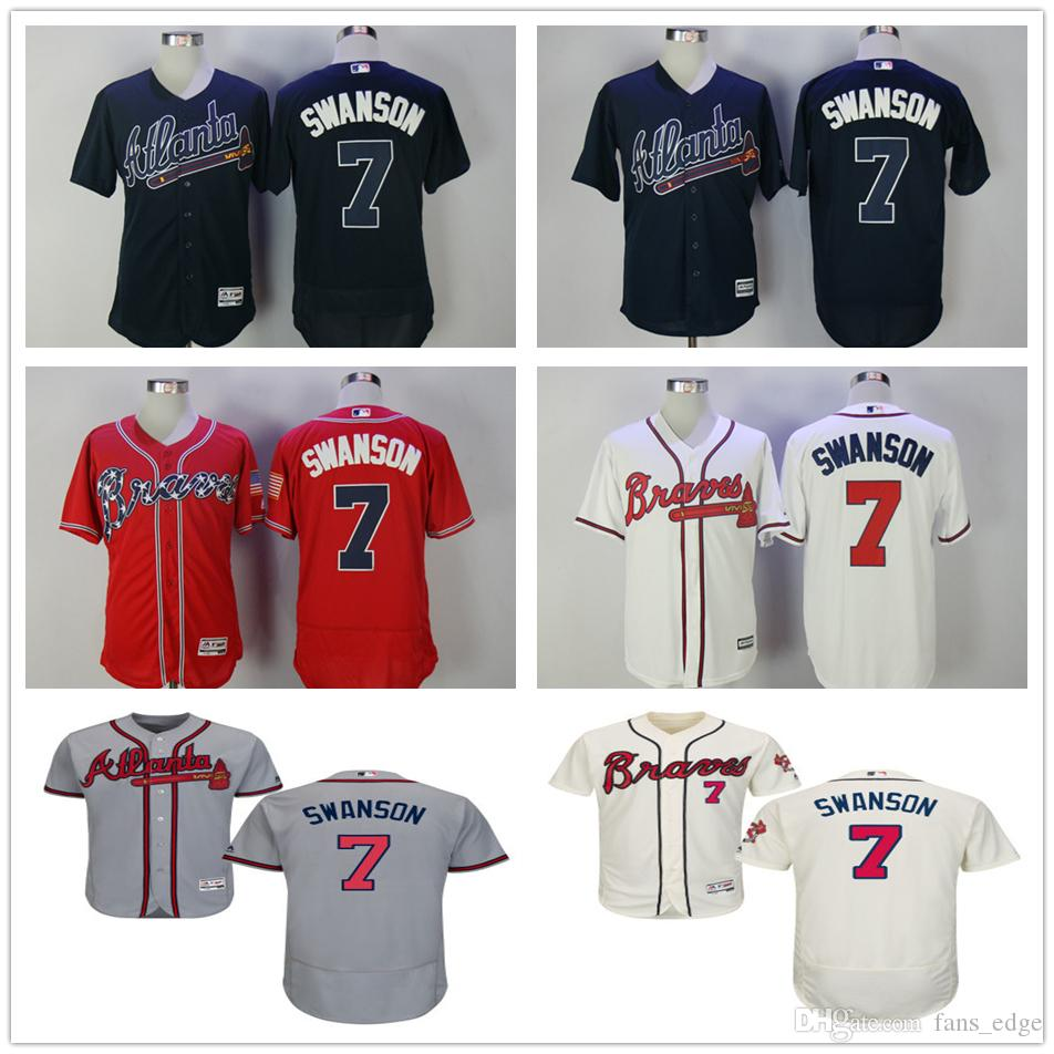 b0244f405 Mens Atlanta Braves Baseball 7 Dansby Swanson Jersey Red White Dark Blue  Grey Mens Atlanta Braves Authentic White Home Cool Base ...