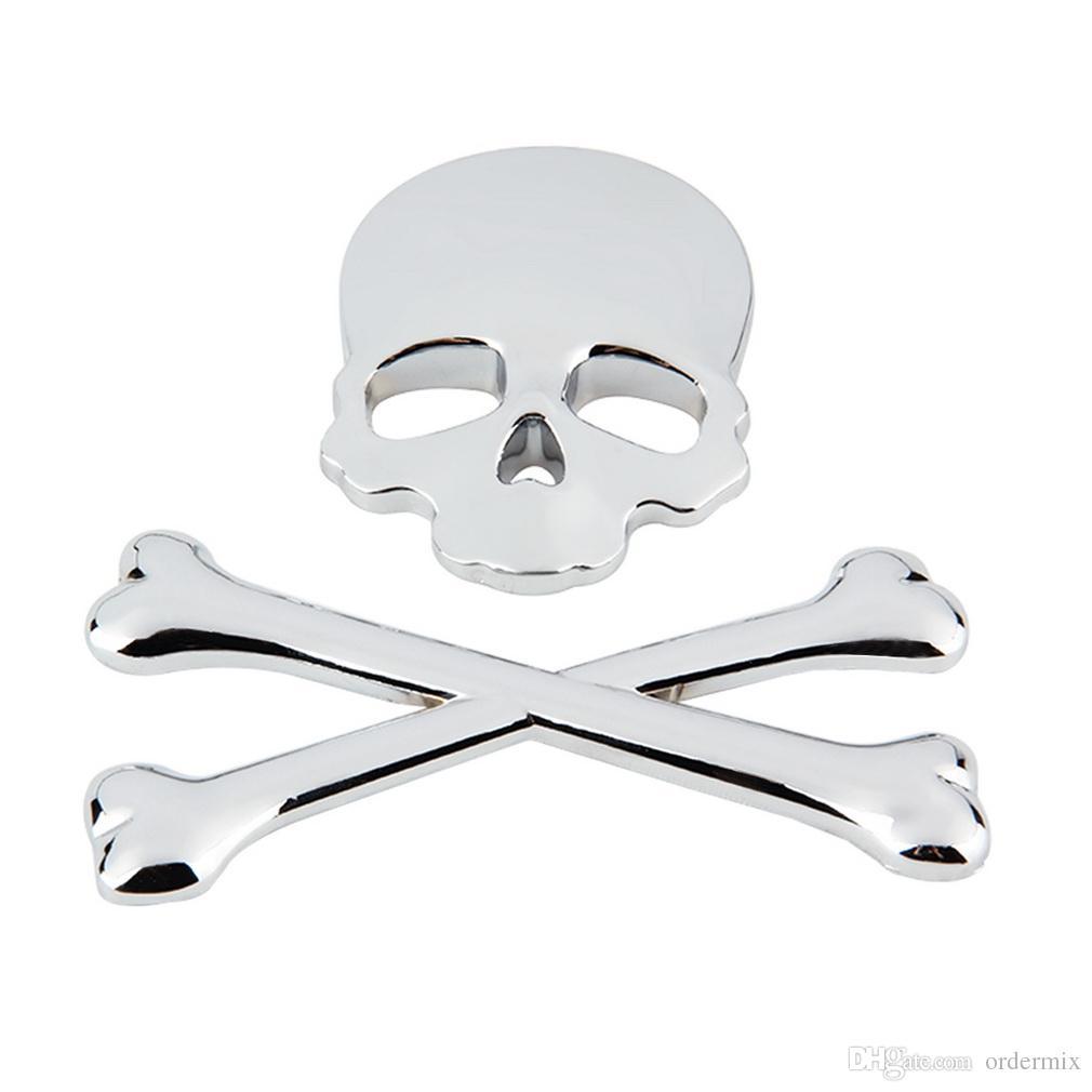 3D Kişiselleştirilmiş Araba Sticker Kafatası Rozeti Oto Metal Kafatası Kemik Logosu Dekoratif Bölüm