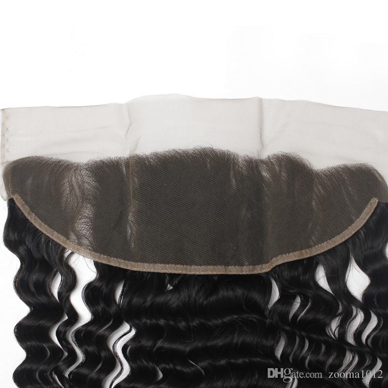 Shedding Remy libero vergine brasiliana dei capelli umani chiusura frontale in pizzo lunghezza mista / Nautral nero 130% profonda ondulati merletti svizzeri in pizzo
