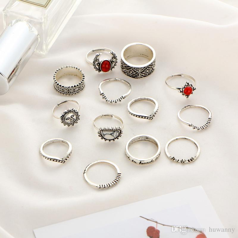 Silver Carved rings Hot Sale Retro Exquisite Cute Personality Punk Style Knuckle Rings Fashion Jewelry wholesale 0569WR