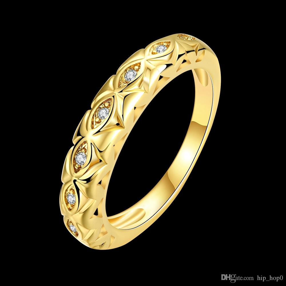 24K Yellow Gold /18K Rose Gold Plated Ring for Women Men Hollowed Design Setting Inlaid 1 Row of CZ Diamonds Wedding Ring Beauty Couple Ring