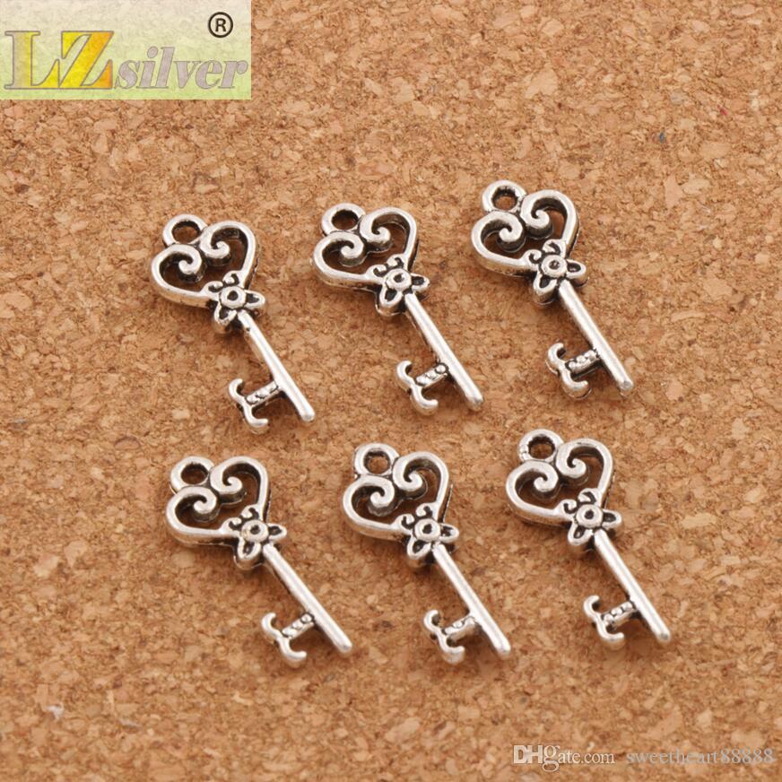 Cuore Hollow Key Charm Beads 2000 pz / lotto Argento Tibetano Pendenti Risultati Dei Monili Componenti FAI DA TE Fit Bracciali Collana 9X21mm L879