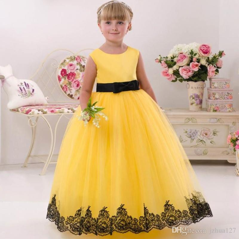 4e53bc2a6dbad Yellow Lace Flower Girl Dress Beautiful Vintage Kids Dress for Wedding  First Communion Dresses Appliques Toddler Girl Dress Kids09