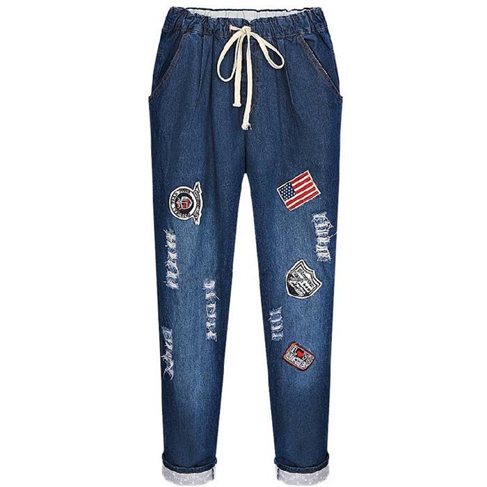 812178e259b Wholesale- Plus Size XL-5XL Jeans for Women High Waist Boyfriend ...