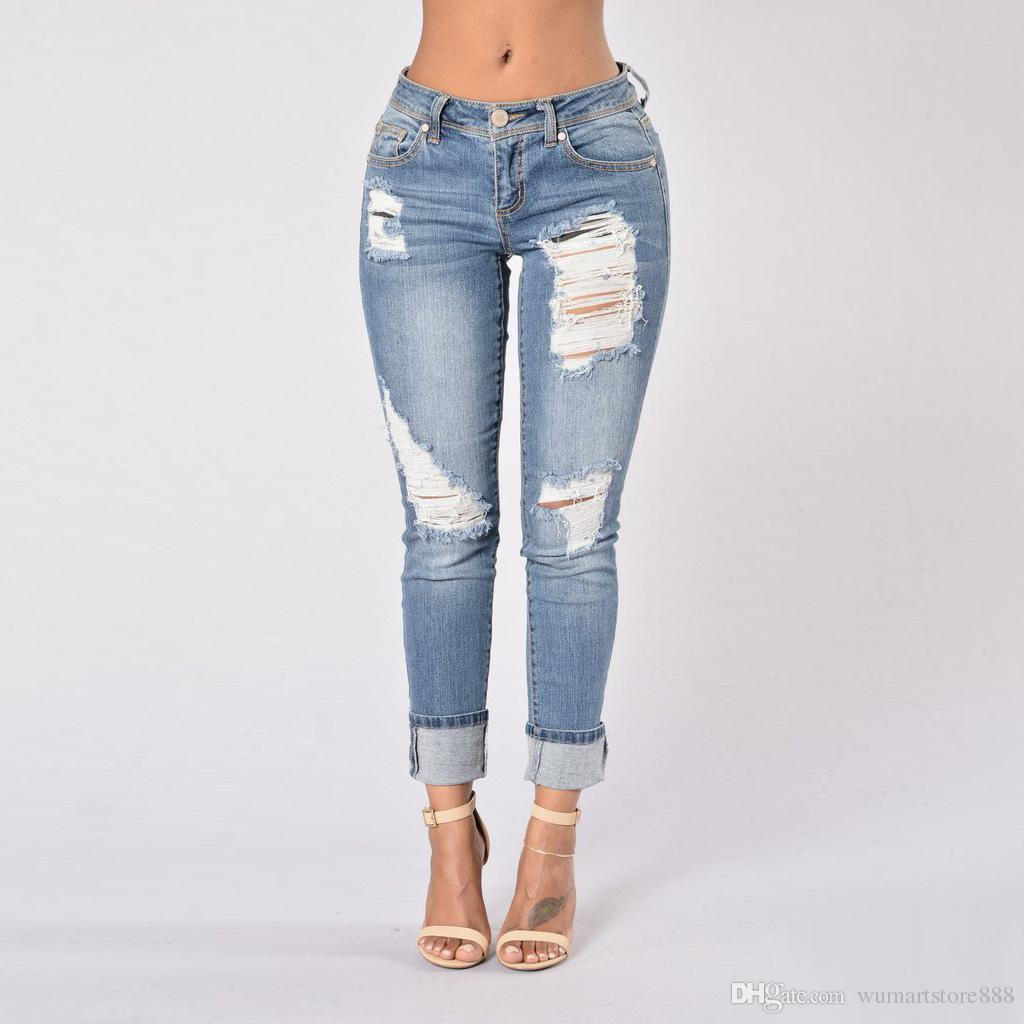 quality new design sold worldwide 2019 Middle Waist Jeans Blue Skinny Jeans Frayed Jeans Womens Bleach Ripped  Skinny Pants Denim Pants For Female Women From Wumartstore888, $18.1 | ...