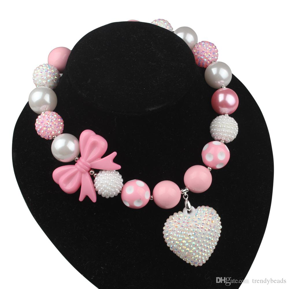 Pink Ribbon Boxing Glove Chunky beads Necklace with Rhinestone Pendant ,Breast Cancer Awareness Survivor Bubblegum Beads necklace