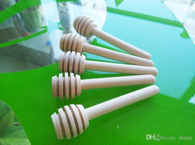 Mini bastone da miele in legno da 8 cm lungo in legno rifornimento del partito bastone di legno miele cucchiaio bastone vaso di miele