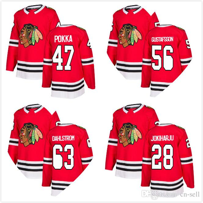 cheap for discount 67b3f cfd36 2018 New Style Mens Erik Gustafsson Jersey 47 Ville Pokka 28 Henri  Jokiharju 63 Carl Dahlstrom Chicago Blackhawks RED Hockey Jerseys