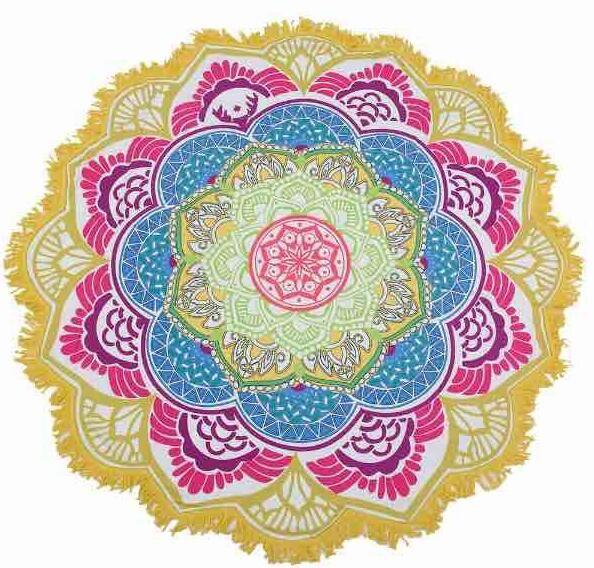 unisex verano fino tapiz Mandala redondo Hippie Pareo boho tapices abrigo chal Throw toalla manta Mat Beach Cover Up bufanda G395