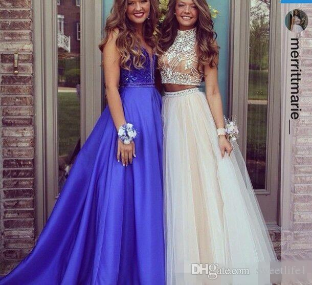2017 Sexy Two Pieces Prom Dresses High Neck Beaded Top Champagne Tulle Floor Length Formal Party Dresses Evening Gowns