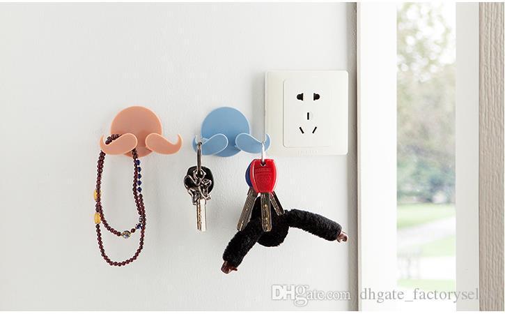 moustache en plastique porte cintre mur collants crochets barbe forme cintre pour clés bijoux accessoires divers crochet cuisine crochet pour porte-serviettes
