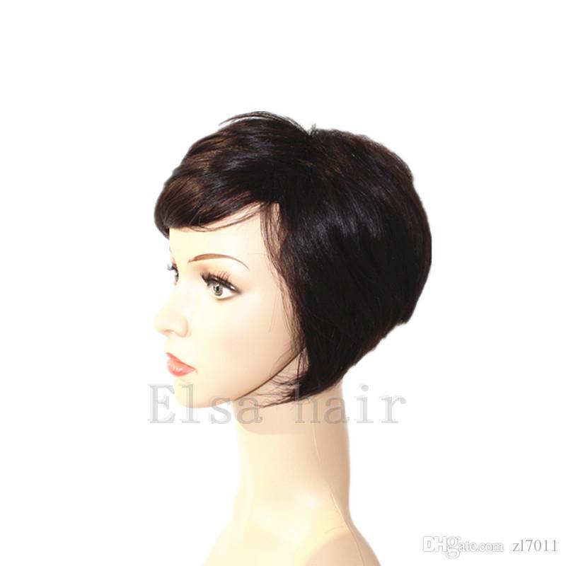 Siyah kadınlar için tam dantel İnsan saç peruk en kaliteli pixie kesim saç için afrika kısa dantel ön yok dantel peruk