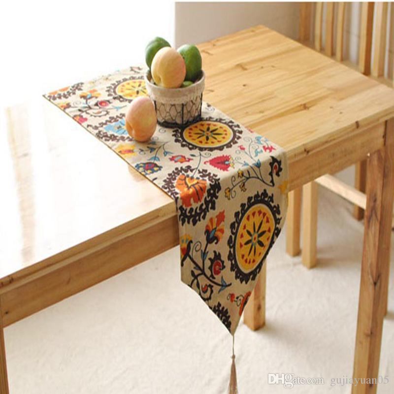 Bz377 Cotton Linen Table Runner Sunflower Printed Kitchen Table Cover Party  Wedding Decoration Home Textile Organza Table Runners Outdoor Table Runner  From ...