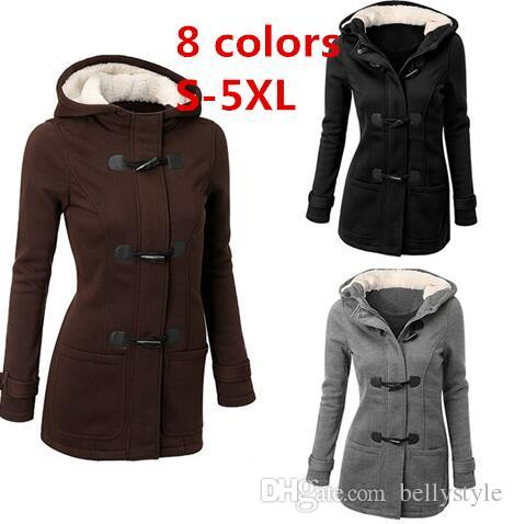 c5a7f21fa5df Winter Jacket Women Hooded Winter Coat Fashion Autumn Women Parka Horn  Button Coats Abrigos Y Chaquetas Mujer Invierno DHL 170916 White Jacket  Denim Jackets ...