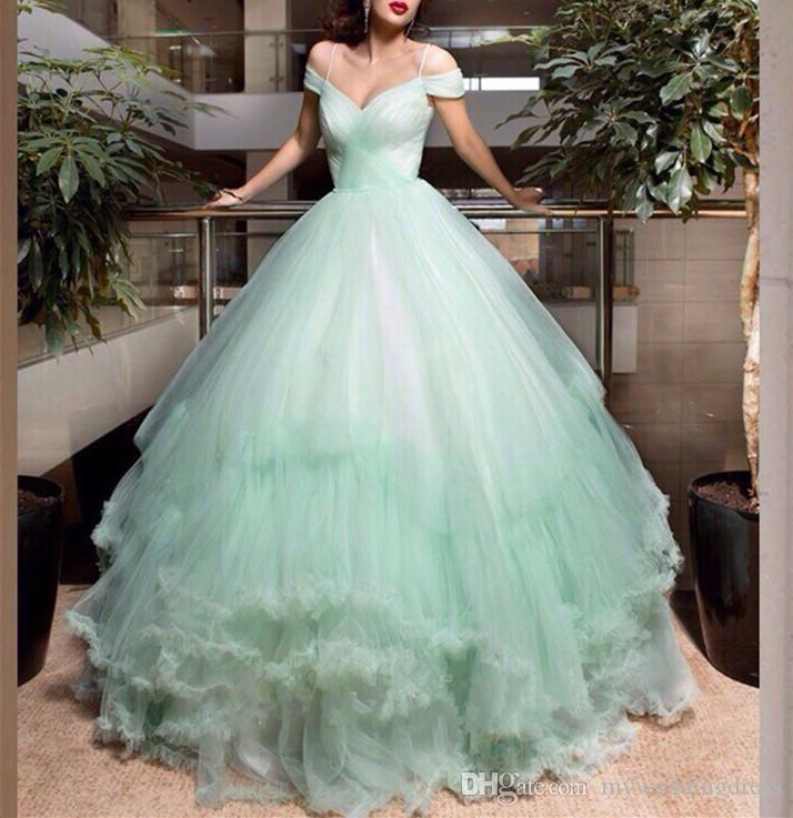 2017 Off Shoulder Mint Green Ball Gown Quinceanera Dresses Sheer ...