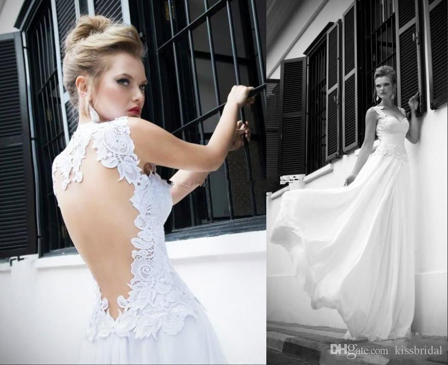 Discount 2017 Vintage Lace Open Back Summer Beach Wedding Dresses