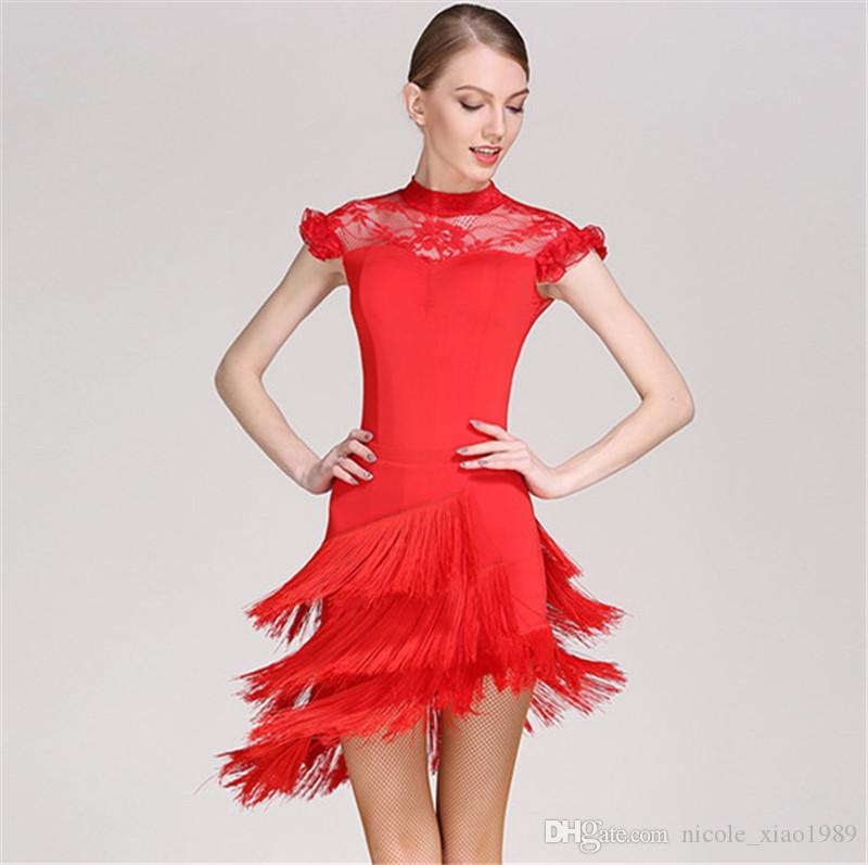 6e727c1459c 2019 Red Adult Girl Latin Dance Dress Salsa Tango Chacha Ballroom  Competition Dance Dress Lace Stitching Short Sleeve Tassel Dress From  Nicole xiao1989