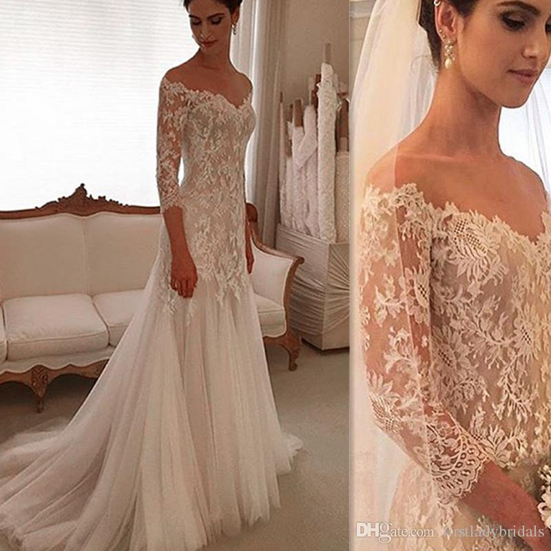 2017 Sleeved Wedding Gowns Sheath Lace And Tulle Off The Shoulder
