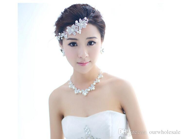 Novia de perlas de cuatro hojas collares hoja accesorios pendientes y accesorios pendientes