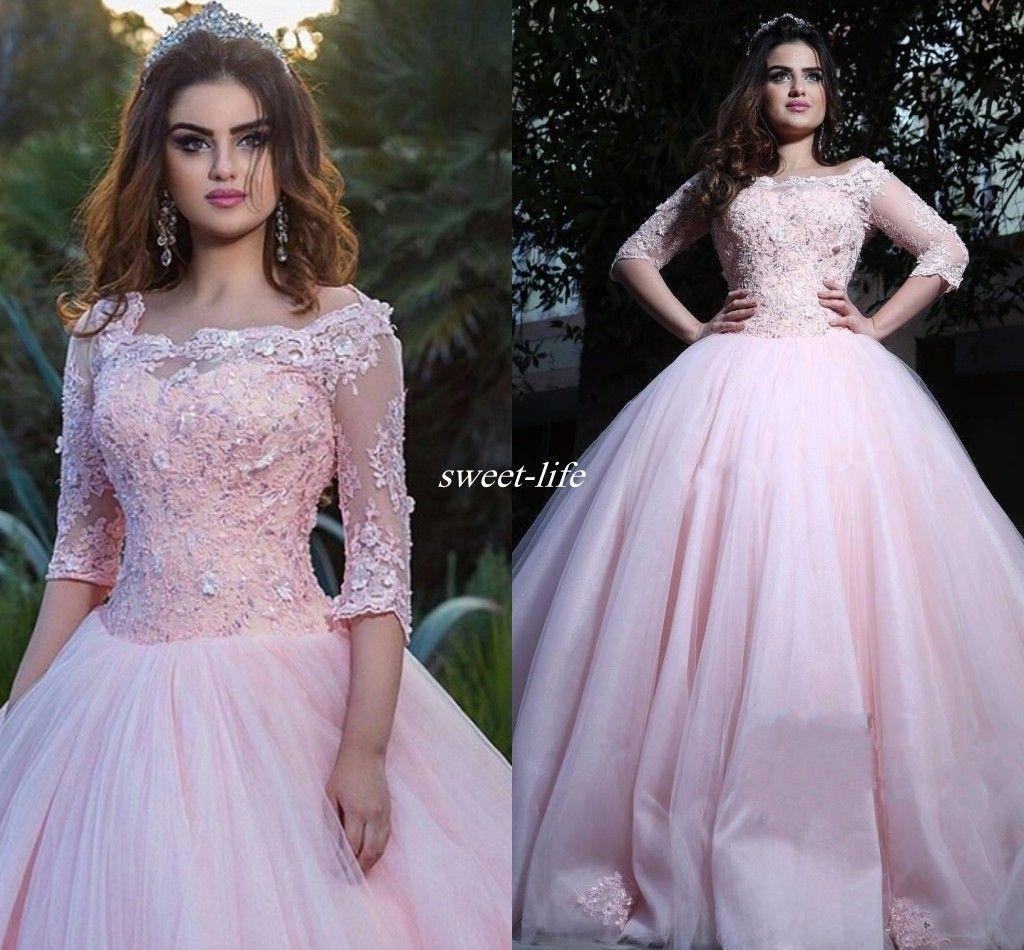 2969a0740 Compre Plus Size Pink Sweet 16 Debutantes Vestidos De Fiesta 3 4 Mangas  Bateau Corset De Encaje Con Cuentas De Tul 2017 Vestidos De 15 Anos Vestidos  De ...