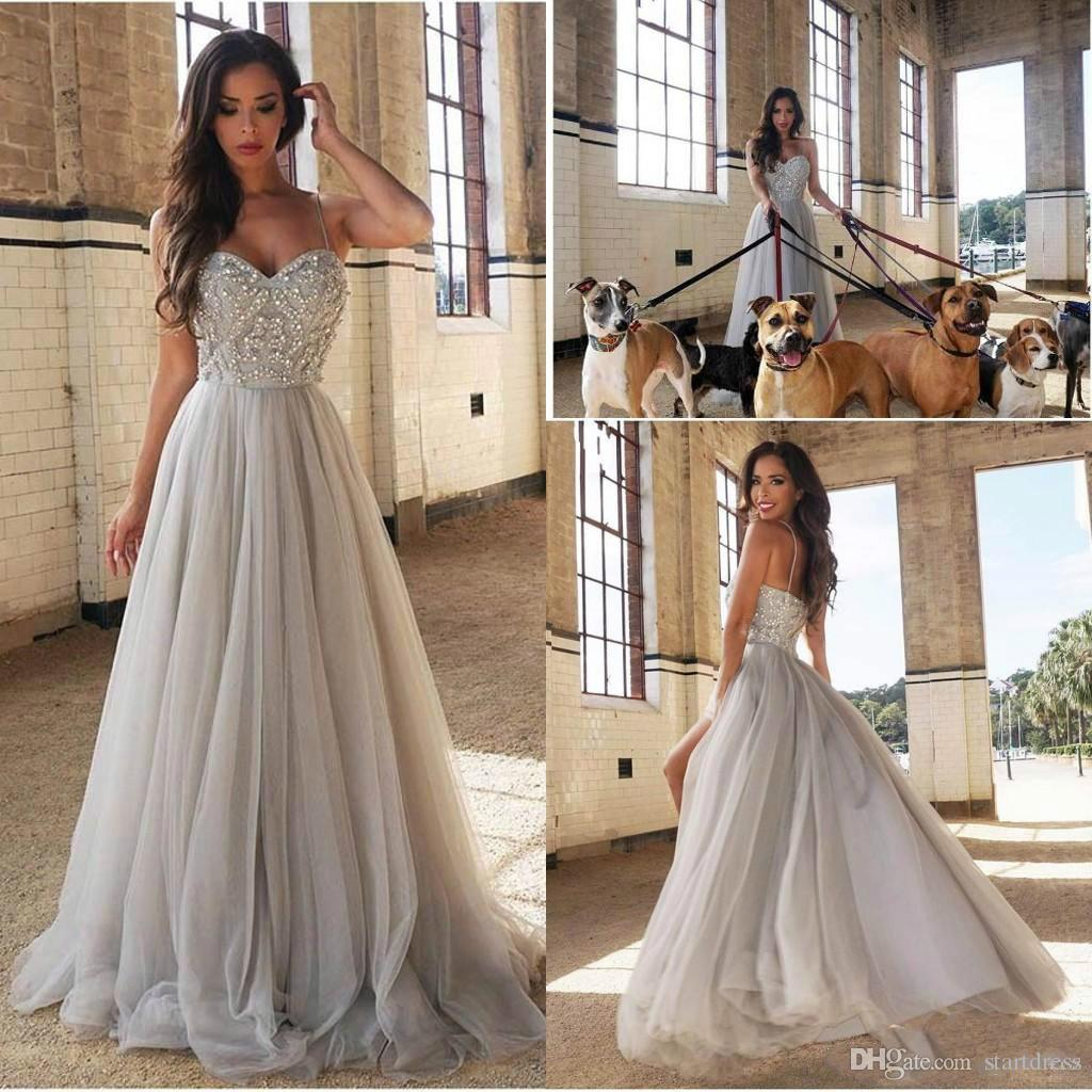 Designer Sexy Silver Spaghetti Prom Dresses Beaded Long Formal Evening Gowns Backless Beautiful Women 2018 Elegant dresses party evening