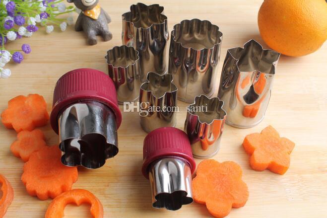 8Pcs Edelstahl Blume geformt Reis Frucht Gemüse Kuchen Form Neu