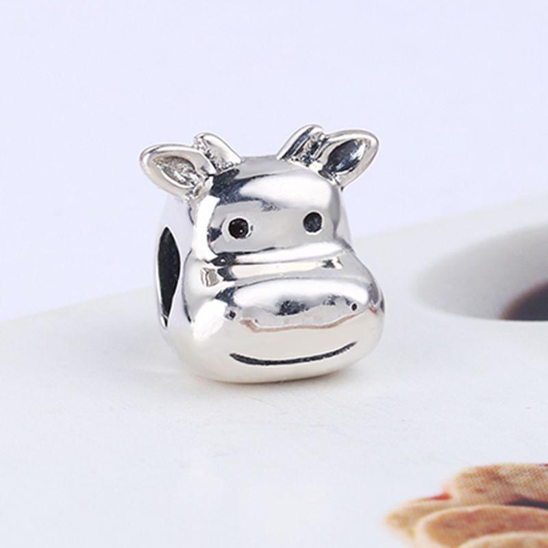 Gros Real 925 Sterling Silver Non Plaqué Belle Vache Européenne Charms Perles Fit Pandora Serpent Chaîne Bracelet DIY Bijoux