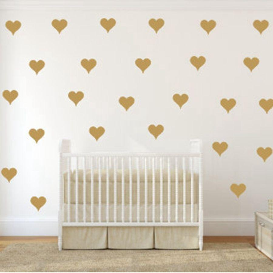 Metallic Gold Wall Stickers Heart Shaped Pattern Vinyl Wall Decals - Wall decals art