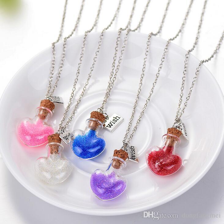 Лучший подарок океан дрейфует бутылка ожерелье мода рисовая бисера сердца, желающий бутылку орнамент WFN282 с цепью смешать Заказать 20 штук много
